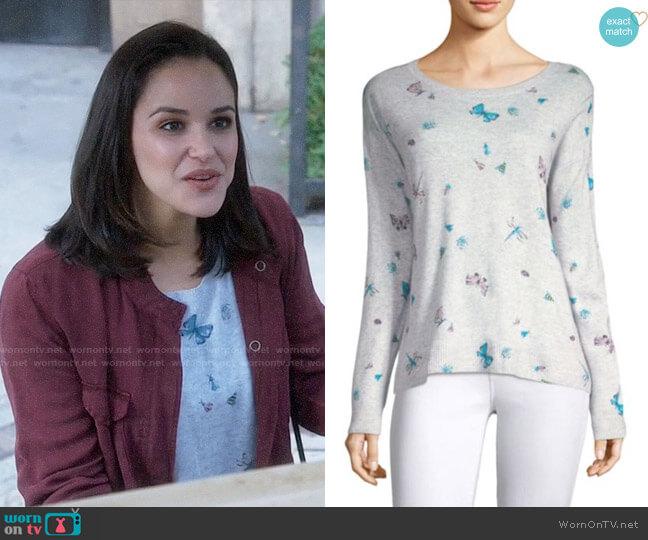 Joie Eloisa Cashmere Butterfly Sweater worn by Melissa Fumero on Brooklyn Nine-Nine