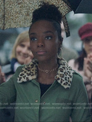Josie's army jacket with leopard fur collar on Riverdale