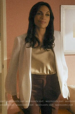 JR's gold top and white tie-sleeve blazer on Jane the Virgin