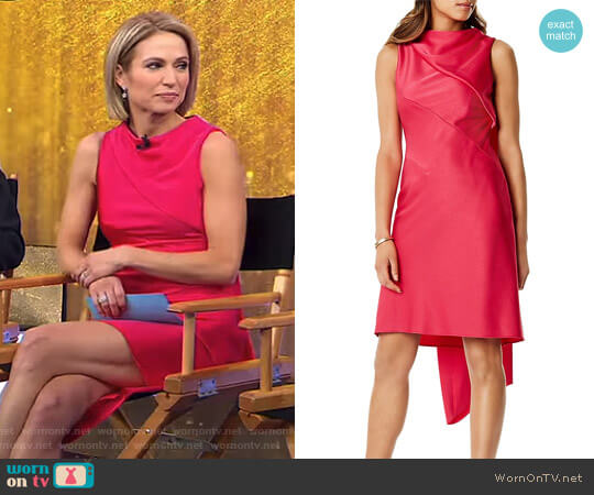 Asymmetric Draped Shift Dress by Karen Millen worn by Amy Robach on Good Morning America