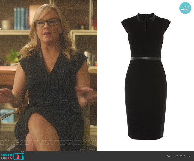 Lucifer Boo Normal: WornOnTV: Linda's Black V-neck Dress With Leather Belt On