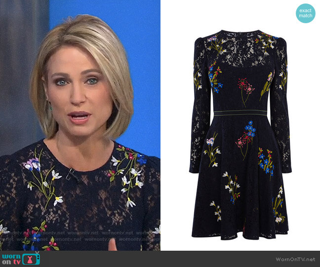 Embroidered Lace Dress by Karen Millen worn by Amy Robach on Good Morning America