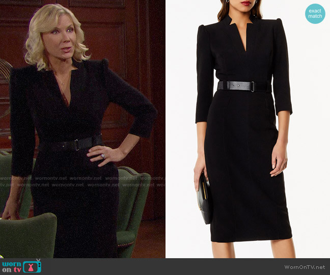 Karen Millen Leather Belt Pencil Dress worn by Brooke Logan (Katherine Kelly Lang) on The Bold & the Beautiful