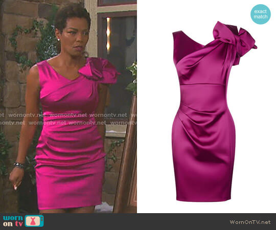 Satin One-Shoulder Dress by Karen Millen worn by Vanessa Williams on Days of our Lives