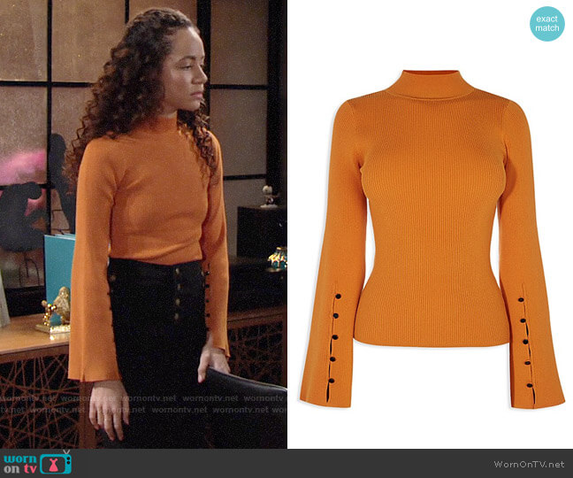 Karen Millen Bell Sleeve Ribbed Sweater worn by Lexie Stevenson on The Young & the Restless