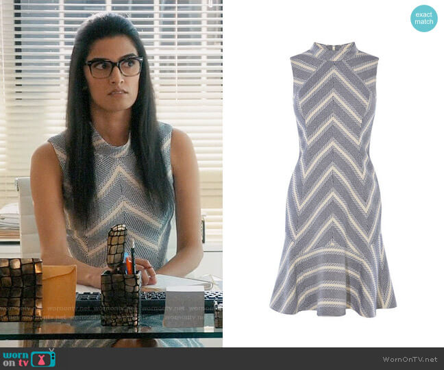Karen Millen Fit and Flare Stripe Tweed Dress worn by Shelly Bhalla on Jane the Virgin