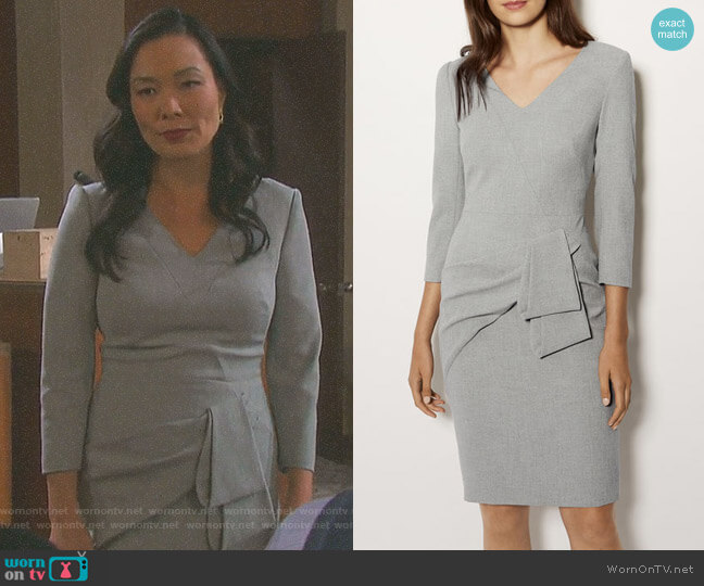 Folded Pencil Dress by Karen Millen worn by Laura Kai Chen on Days of our Lives