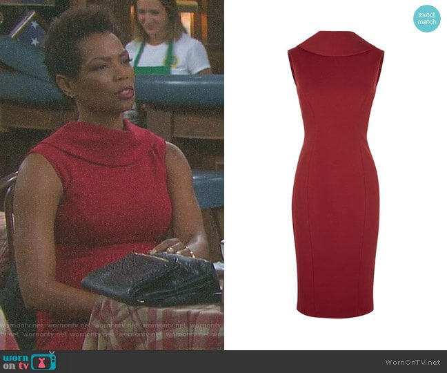 High-Neck Pencil Dress by Karen Millen worn by Valerie Grant (Vanessa Williams) on Days of our Lives