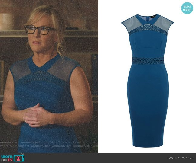 Mesh & Lace Pencil Dress by Karen Millen worn by Rachael Harris on Lucifer