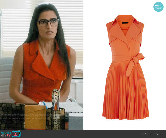 Karen Millen Pleated Trench Dress worn by Shelly Bhalla on Jane the Virgin