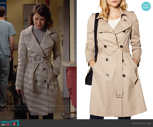 Karen Millen Studded Collar Trench Coat worn by Caroline Spencer (Linsey Godfrey) on The Bold & the Beautiful