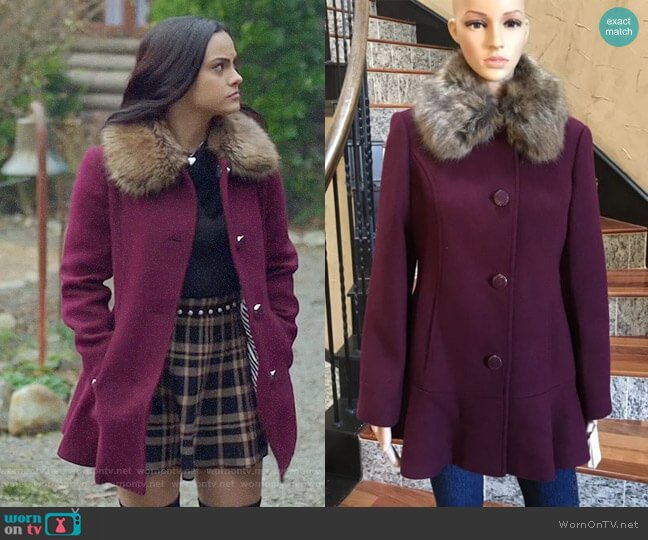 Kate Spade Midnight Wine Fur Collar Coat worn by Veronica Lodge (Camila Mendes) on Riverdale