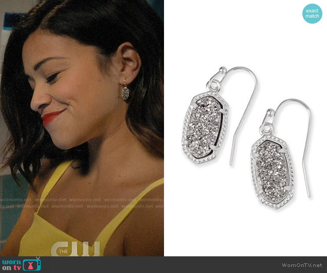 Kendra Scott Lee Small Drop Earrings worn by Jane Villanueva (Gina Rodriguez) on Jane the Virgin
