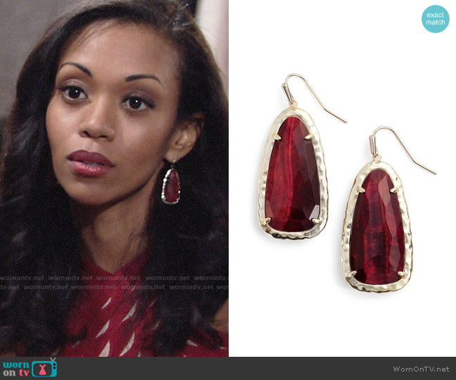 Kendra Scott Lyn Drop Earrings worn by Hilary Curtis (Mishael Morgan) on The Young & the Restless