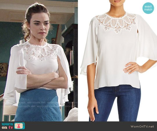 Kobi Halperin Embroidered Cape Overlay Blouse worn by Victoria Newman (Amelia Heinle) on The Young & the Restless
