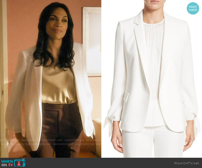 Lafayette 148 New York Bria Finesse Crepe Jacket worn by Jane Ramos (Rosario Dawson) on Jane the Virgin