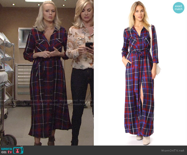 L'Agence Cameron Plaid Shirtdress worn by Melissa Ordway on The Young & the Restless