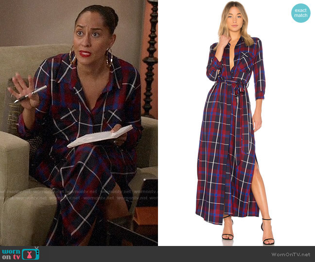 L'Agence Cameron Plaid Shirtdress worn by Tracee Ellis Ross on Blackish