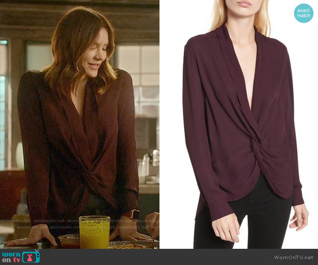 L'Agence Twist Front Silk Blouse worn by Katharine McPhee on Scorpion