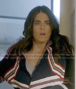 Laurel's navy and red striped cardigan on How to Get Away with Murder