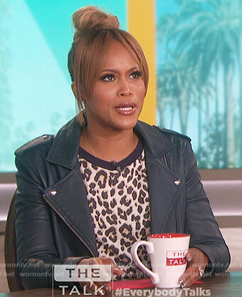 Eve's leopard print t-shirt and leather jacket on The Talk