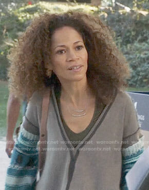 Lena's grey v-neck sweater with blue crochet sleeves on The Fosters