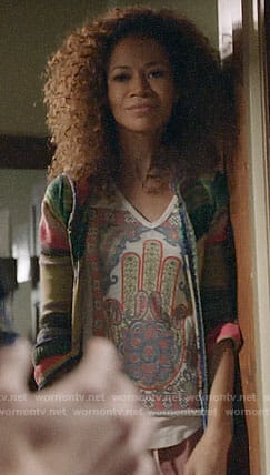 Lena's hamsa graphic tee and striped cardigan on The Fosters