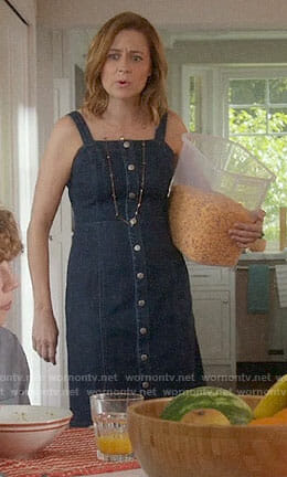 Lena's denim button front dress on Splitting Up Together