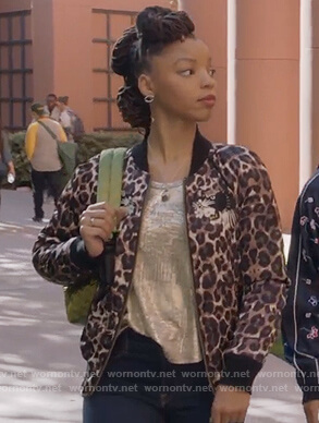 Jazlyn's leopard print patch bomber jacket on Grown-ish