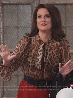 Karen's leopard print neck tie blouse on Will and Grace