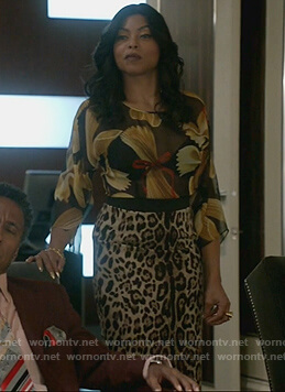 Cookie's black pasta print blouse and leopard print skirt on Empire