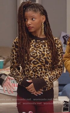 Skylar's leopard print sweater on Grown-ish