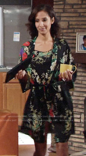 Lily's black floral robe and chemise on The Young and the Restless