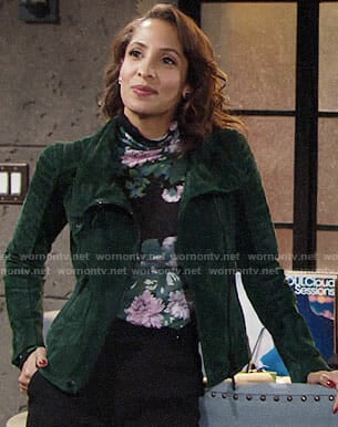 Lily's green suede jacket on The Young and the Restless