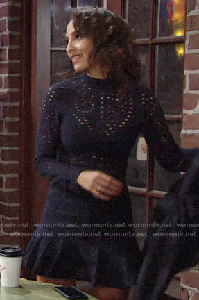 Lily's navy eyelet dress on The Young and the Restless