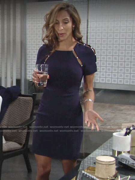 Lily's navy pearl inset dress on The Young and the Restless