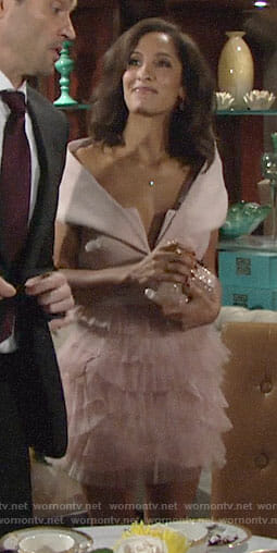 Lily's pink off-shoulder tulle skirt dress on The Young and the Restless