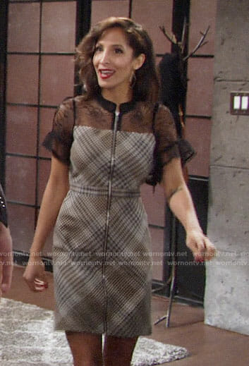 Lily's plaid zip front dress with lace on The Young and the Restless