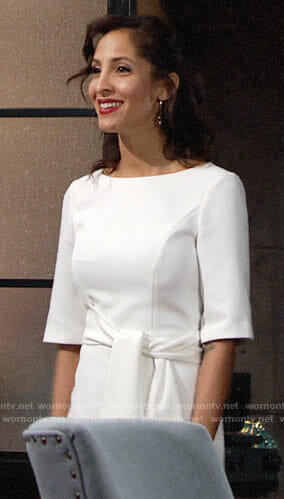 Lily's white tie-waist dress on The Young and the Restless