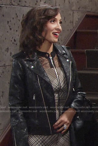 Lily's black lace moto jacket on The Young and the Restless