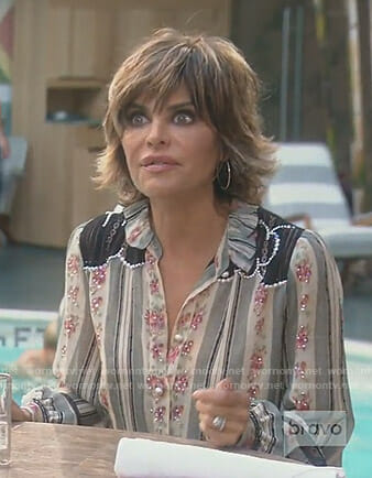 Lisa's embellished printed blouse on The Real Housewives of Beverly Hills
