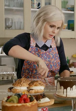 Liv's navy sweater with striped collar on iZombie