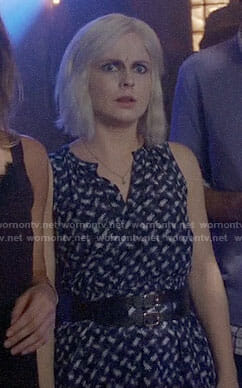 Liv's navy and white printed dress on iZombie