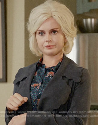 Liv's tiger print shirt and scalloped trim coat on iZombie