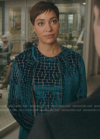 Liz's silver tweed jacket and dress on The Good Fight