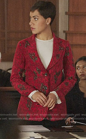 Lucca's red floral jacket on The Good Fight