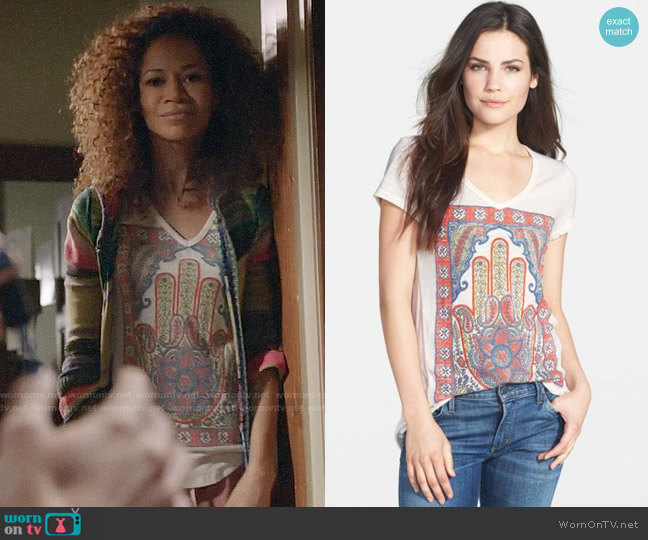 Lucky Brand Hamsa Hand Tee worn by Lena Adams Foster (Sherri Saum) on The Fosters
