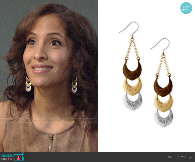 Lucky Brand  Tri-Tone Triple Drop Earrings by Lucky Brand worn by Lily Winters (Christel Khalil) on The Young & the Restless