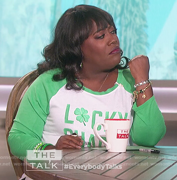 Sheryl's green lucky charm raglan t-shirt on The Talk
