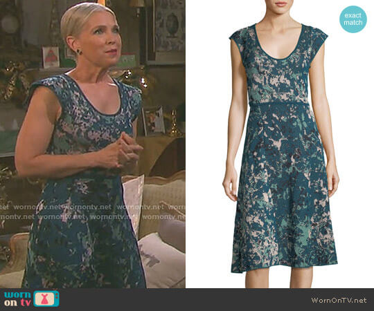 Scoop-Neck Floral Jacquard Cap-Sleeve Dress by M Missoni worn by Jennifer Horton (Melissa Reeves) on Days of our Lives